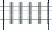 Festnight Metall Doppelstabmattenzaun Stahlzaun Gartenzaun & Pfosten Zaunpaneel 2008x1030mm Gesamtlänge 26m Grau