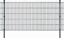 Festnight Metall Doppelstabmattenzaun Stahlzaun Gartenzaun & Pfosten Zaunpaneel 2008x1030mm Gesamtlänge 6m Grau