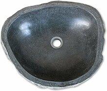 Festnight Oval Waschbecken aus Flussstein