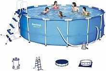 Festnight Pro Rund Schwimmbad Set Schwimmbecken Swimmingpool Garten Familienpool mit Stahlrahmen 457x122 cm