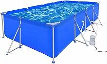 Festnight Rechteckig Schwimmbad Pool Swimmingpool Schwimmbecken mit Pumpe 394 x 207 x 80 cm