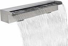Festnight Rechteckige Wasserfall Wasserfontäne Pool-Fontäne Edelstahl Wasserspiel 60 x 11,5 x 8 cm