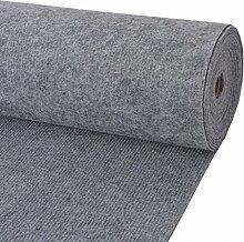 Festnight Rips Messeteppich Rippenstruktur Auslegware Polyester Teppichboden Bodenbelag 2x10 m Grau Ideal für Hochzeiten, Parties, Shows