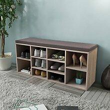 Festnight Schuhschrank Schuhbank Sitzbank Schuhregal mit Sitzkissen 10 Fächer für 10 Paar Schuhe - Eichefarbe