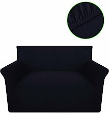 Festnight Sofahusse Sofa Hussen Stretch-Husse Sofabezug aus Baumwolljersey Schwarz für 2-Sitzer-Sofa mit Breite von 120-190 cm