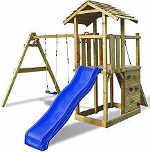 Festnight Spielturm Kinder Kletterturm Spielplatz aus Holz mit Leiter Rutsche Schaukeln 419 x 350 x 266 cm