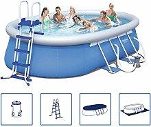 Festnight Stabil Schwimmbad Set Schwimmbecken Swimming Pool Familienpool mit Stahlrahmen 549 x 366 x 122 cm