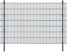 Festnight Stahl Doppelstabmattenzaun Verzinkte Gartenzaun & Pfosten Set Metall Zaunset Zaunpaneel 2008x1430mm Gesamtlänge 20m Grau