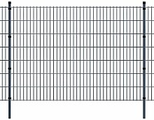 Festnight Stahl Doppelstabmattenzaun Verzinkte Gartenzaun & Pfosten Set Metall Zaunset Zaunpaneel 2008x1430mm Gesamtlänge 18m Grau