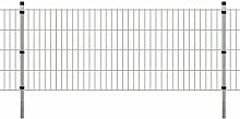 Festnight Stahl Zaun-Set Doppelstabmattenzaun Metallzaun Gartenzaun & Pfosten Zaunpaneel 2008x830mm Gesamtlänge 4m Silberfarbe