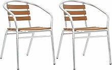 Festnight Stapelbare Gartenstühle 2 STK. | Alu