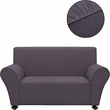 Festnight Stretch Sofahusse Sofabezug Sofa Hussen Stretchhusse aus Polyesterjersey Anthrazit passend für die meisten 2-Sitzer-Sofa