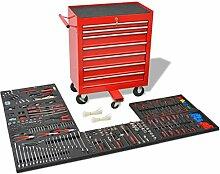 Festnight Werkstattwagen mit 1125 Werkzeugen Stahl