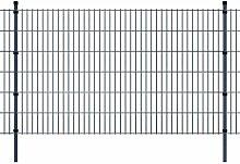 Festnight Zaun-Set Doppelstabmattenzaun Metallzaun Gartenzaun & Pfosten Set Zaunpaneel 2008x1230mm Gesamtlänge 24m Grau