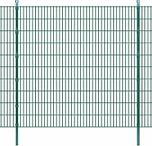 Festnight Zaun Set Stahl Doppelstabmattenzaun Verzinkte Gartenzaun & Pfosten Metallzaun Zaunpaneel 2008x2030mm Länge 16m Grün