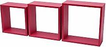 Fetim Drei Regalwürfel- B!Organised, 1 Stück, 12 x 30 x 30 cm / 12 x 27 x 27 cm / 12 x 24 x 24 cm, rosa glänzend, 1151090