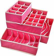 Fetoo 4 Set Schubladen Schrank Organizer Schrank Organizer BH Unterwäsche Aufbewahrungsboxen (Rosa)