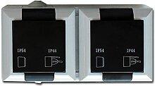Feuchtraum Doppelsteckdose waagerecht Aufputz Doppelsteckdose AP IP54 16A/250V grau
