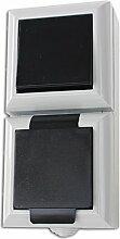 Feuchtraum Kombination Steckdose Schalter senkrecht Aufputz Kombination Steckdose Schalter AP IP54 16A/250V grau