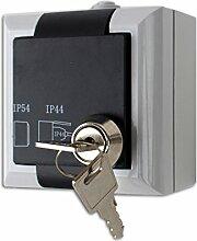 Feuchtraum Steckdose abschließbar Aufputz Steckdose AP IP54 16A/250V grau