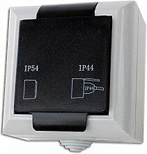 Feuchtraum Steckdose Aufputz Steckdose AP IP54 16A/250V grau