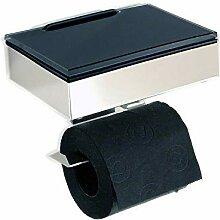 Feuchttücherbox/WC Rollenhalter Edelstahl - Glas