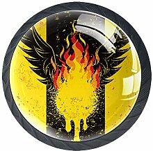 Feuer Phoenix 8 Schubladenknöpfe Lupe Abbildung