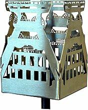 Feuer und Stahl Gartenfackel Förderturm aus Edelstahl, Terrasse, Dekoration, Geschenkidee, Feuer, Ruhrgebiet, Bergbau