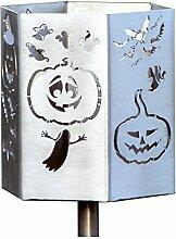 Feuer und Stahl Gartenfackel Halloween aus Edelstahl, Dekoration, Terrasse, Geschenkidee, Fledermaus, Geister, Feuer