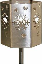 Feuer und Stahl Gartenfackel Schneeflocke aus Edelstahl, Terasse, Geschenkidee, Dekoration, Winter, Weihnachten, Eiskristalle, Feuer