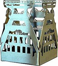 Feuer und Stahl Kerzenhalter Förderturm aus Edelstahl, Terasse, Balkon, Dekoration, Geschenkidee, Windlicht, Feuer, Ruhrgebiet, Bergbau