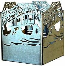 Feuer und Stahl Kerzenhalter Schwebebahn aus Edelstahl, Terrasse, Dekoration, Geschenkidee, Feuer