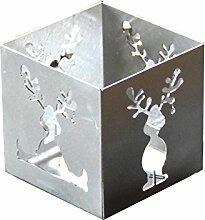 Feuer und Stahl Teelichthalter Elch aus Edelstahl, Minifackel, Kerzenständer, Windlicht, Kerzenhalter, Dekoration, Winter, Weihnachten, Nikolaus, Rentier, Geschenkidee