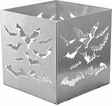 Feuer und Stahl Teelichthalter Fledermaus aus Edelstahl, Minifackel, Kerzenständer, Windlicht, Kerzenhalter, Halloween, Geschenkidee, Dekoration
