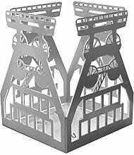 Feuer und Stahl Teelichthalter Förderturm aus Edelstahl, Terrasse, Balkon, Dekoration, Geschenkidee, Windlicht, Feuer, Ruhrgebiet, Bergbau