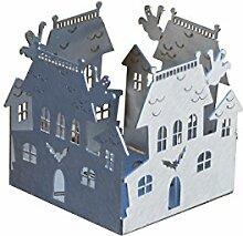 Feuer und Stahl Teelichthalter Geisterhaus aus Edelstahl, Minifackel, Kerzenständer, Windlicht, Kerzenhalter, Halloween, Fledermaus, Gespenster, Fantasy, Geschenkidee, Dekoration