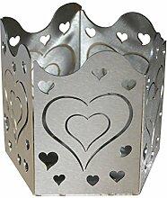 Feuer und Stahl Teelichthalter Herzen aus Edelstahl, Minifackel, Kerzenständer, Windlicht, Kerzenhalter, Dekoration, Valentinstag, Muttertag, Geschenkidee