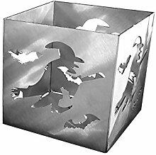 Feuer und Stahl Teelichthalter Hexe aus Edelstahl, Minifackel, Kerzenständer, Windlicht, Kerzenhalter, Halloween, Fledermaus, Fantasy, Geschenkidee, Dekoration