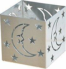 Feuer und Stahl Teelichthalter Mond und Sterne aus Edelstahl, Minifackel, Kerzenständer, Windlicht, Kerzenhalter, Geschenkidee, Dekoration