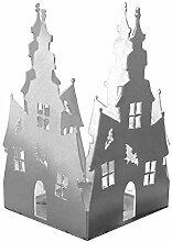 Feuer und Stahl Teelichthalter Spukschloss aus Edelstahl, Minifackel, Kerzenständer, Windlicht, Kerzenhalter, Halloween, Fantasy, Geschenkidee, Dekoration
