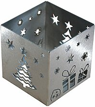 Feuer und Stahl Teelichthalter Weihnachten aus Edelstahl, Minifackel, Kerzenständer, Windlicht, Kerzenhalter, Dekoration, Winter, Weihnachten, Nikolaus, Geschenkidee