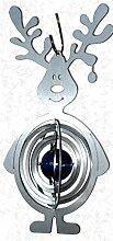 Feuer und Stahl Windspiel Elch aus Edelstahl mit Glaskugel, Murmel, Fensterdekoration, Fensterschmuck, Winter, Weihnachten, Geschenkidee