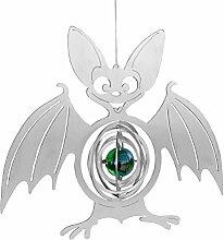 Feuer und Stahl Windspiel Fledermaus aus Edelstahl mit Glaskugel, Murmel, Fensterdekoration, Fensterschmuck, Geschenkidee