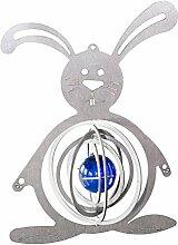 Feuer und Stahl Windspiel Hase aus Edelstahl mit Glaskugel, Murmel, Fensterdekoration, Fensterschmuck, Geschenkidee, Ostern