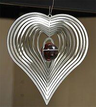 Feuer und Stahl Windspiel Herz aus Edelstahl mit Glaskugel, Murmel, Fensterdekoration, Fensterschmuck, Geschenkidee, Valentinstag, Muttertag