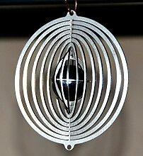 Feuer und Stahl Windspiel Mars aus Edelstahl mit Glaskugel, Murmel, Kreis, Fensterdekoration, Fensterschmuck, Geschenkidee