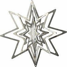 Feuer und Stahl Windspiel Stern aus Edelstahl, Fensterdekoration, Fensterschmuck, Baumschmuck, Aufhänger, Geschenkidee, Weihnachten