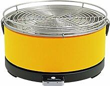 Feuerdesign Tischgrill Mayon - gelb, Holzkohlegrill mit Lüftermotor Grill und Grillzange