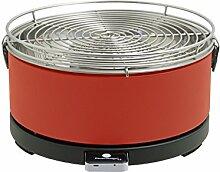 Feuerdesign Tischgrill Mayon - Rot, Holzkohlegrill Mit Lüftermotor Grill Und Grillzange