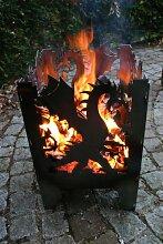 Feuerkorb Feuersäule 31x32x47cm Motiv Drache Gr.L